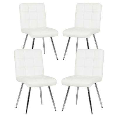 Petras Vegan Leather Chair in White (Set of 4)