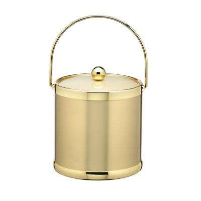 Americano 3 Qt. Brushed Brass Ice Bucket and Lid with Metal Bale Handle
