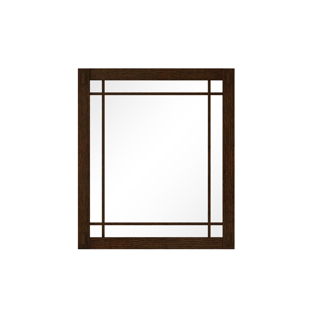 Home Decorators Collection Artisan 25.5 in. W x 30 in. H Framed Single Wall Mirror in Dark Oak