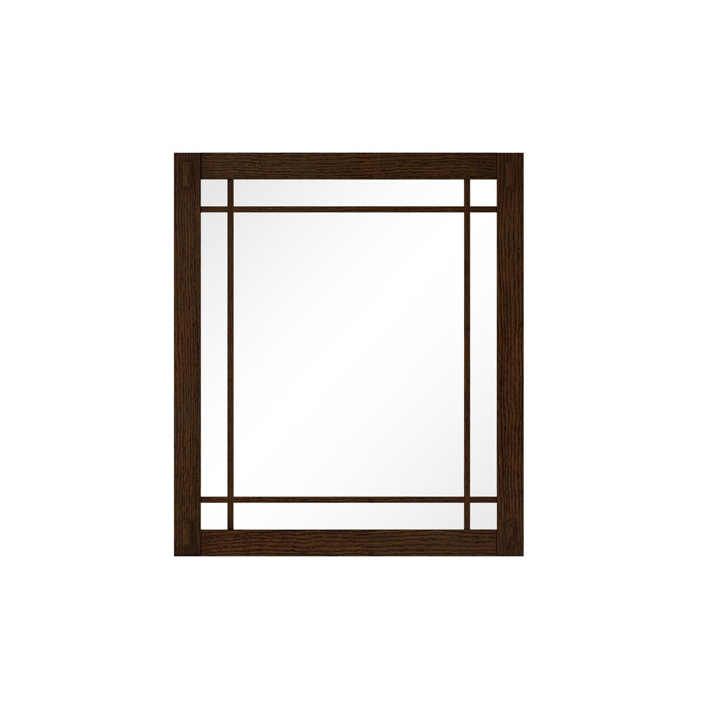 Artisan 25.5 in. W x 30 in. H Framed Single Wall Mirror in Dark Oak