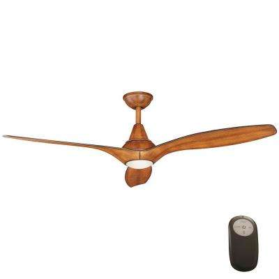 Tidal Breeze 56 in. LED Indoor Distressed Koa Ceiling Fan with Light Kit and Remote Control
