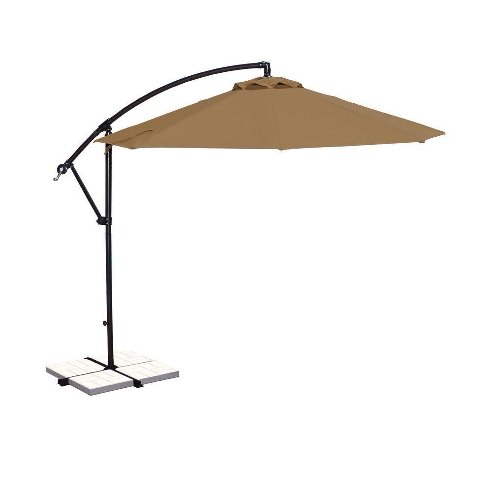 Santiago 10 Ft. Octagonal Cantilever Patio Umbrella In Stone Sunbrella  Acrylic