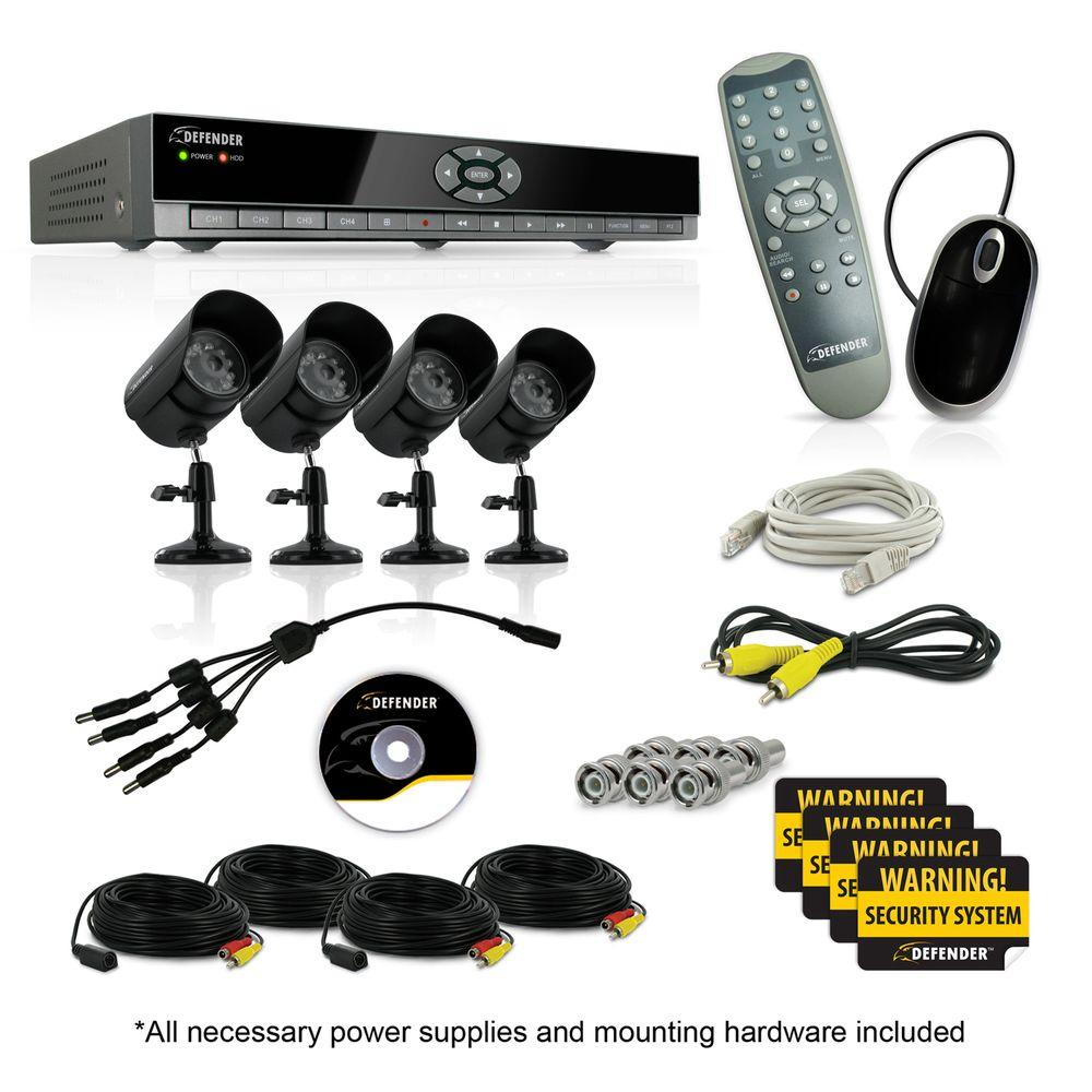 Defender 4 Ch. 500 GB Hard Drive Surveillance System with (4) 400 TVL Cameras-DISCONTINUED