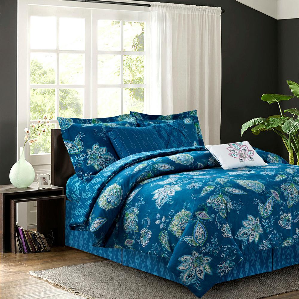Jaipur Teal 7-Piece Full Comforter Set