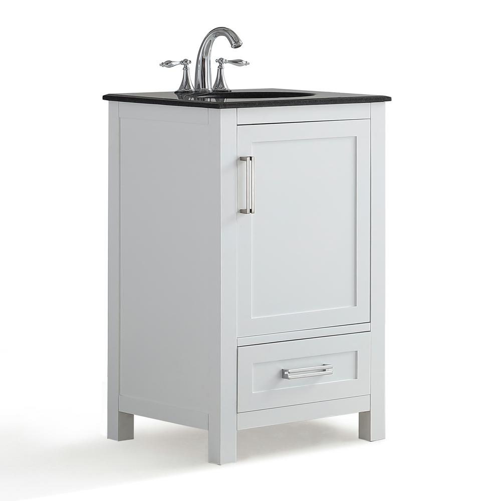 Simpli Home Evan 20 in. W x 19 in. D x 34.5 in. H Bath Vanity in White with Granite Vanity Top in Black with White Basin