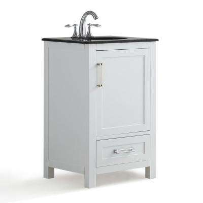 Evan 20 in. W x 19 in. D x 34.5 in. H Vanity in White with Granite Vanity Top in Black with White Basin