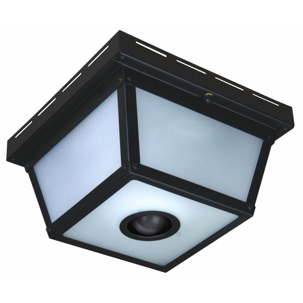 Hampton Bay 360° Square 4-Light Black Motion Sensing Outdoor Flush ...