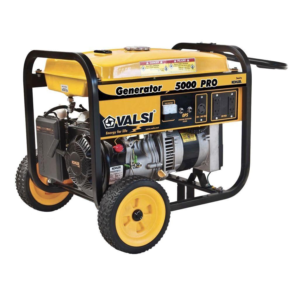 Valsi 5,000-Watt Kohler Command Gasoline Powered PRO Portable Single Phase Contractor Generator