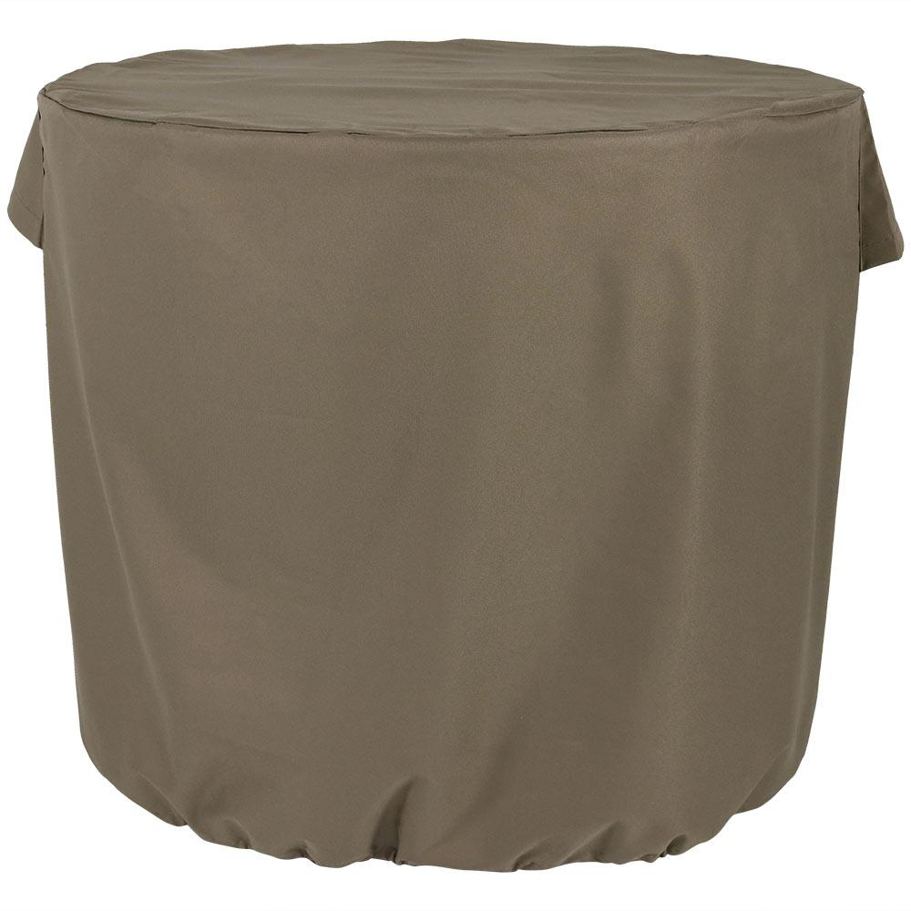 Sunnydaze Decor 34 in. x 30 in. Heavy-Duty Khaki Round Protective Air Conditioner Cover, Solid This round khaki air conditioner cover is thicker than standard covers, and will provide even more protection for any outdoor central air conditioner unit. Made with 300D Polyester, this A/C cover can withstand all types of weather to prolong the life of the air conditioner. This cover is waterproof and weather-resistant. With the toggle and drawstring feature, this allows the cover to adjust for the perfect fit flush against the air conditioning unit, even in windy conditions. The cover keeps water and ice as well as leaves and debris out of the inside of the unit. And, the cover is fitted with unique side vents to prevent lofting or mildew. Color: Solid.