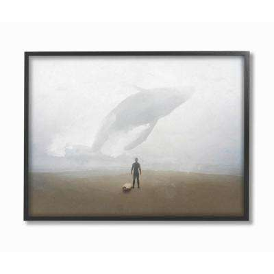 "16 in. x 20 in. ""Whale Surf Beach Painting"" by Joshua Chace Framed Wall Art"
