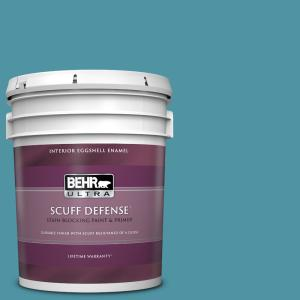 Behr Ultra 5 Gal 530d 6 Teal Bayou Extra Durable Eggshell Enamel Interior Paint Primer 275305 The Home Depot