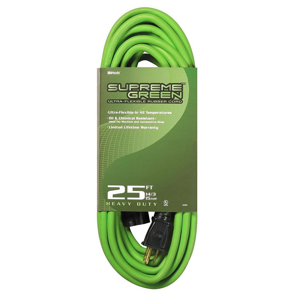 25 ft. 14/3 SJOW Ultra-Flex Supreme Green Rubber Outdoor Medium-Duty Extension Cord