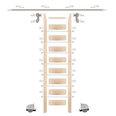 9 ft. Maple Ladder (10 ft. Reach) Satin Nickel Contemporary Rolling Hook Hardware 8 ft. Rail and Horizontal Brackets