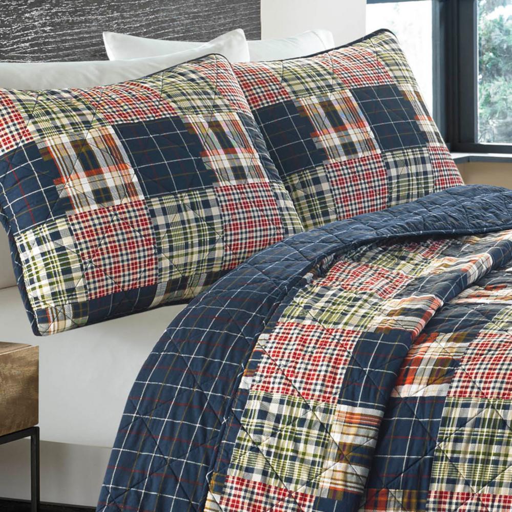 Madrona Blue Plaid Cotton Quilt Set