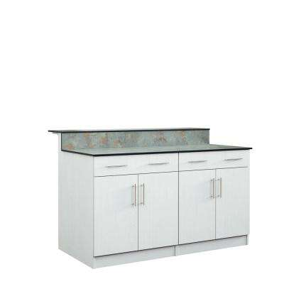 Miami 59.5 in. Outdoor Bar Cabinets with Countertop 4 Door and 2 Drawer in White