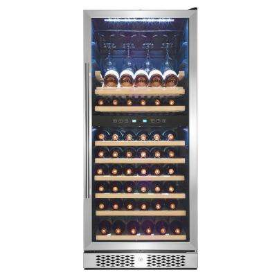 54 in. 53-Bottle Compressor Dual Zone Wine Cooler in Stainless Steel with Key Lock