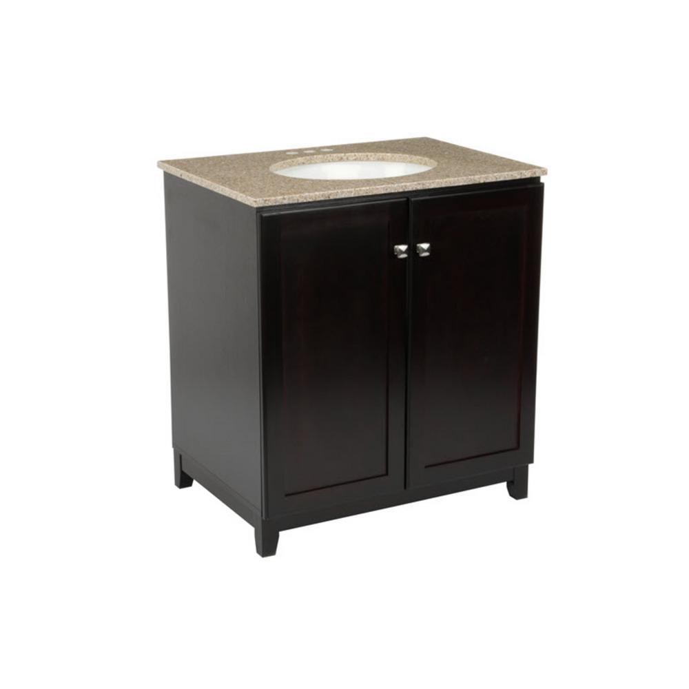 30 in. x 21 in. x 33 in. Shorewood 2-Door Vanity Cabinet with Golden Sand Granite Vanity Top with White Basin