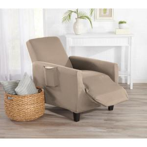 Great Bay Home Dawson Collection Tan Twill Form Fit Recliner Slipcover by Great Bay Home