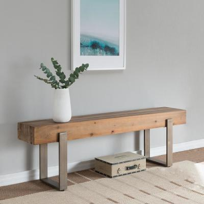 Gavrielle Natural Reclaimed Wood Rustic Industrial Bench