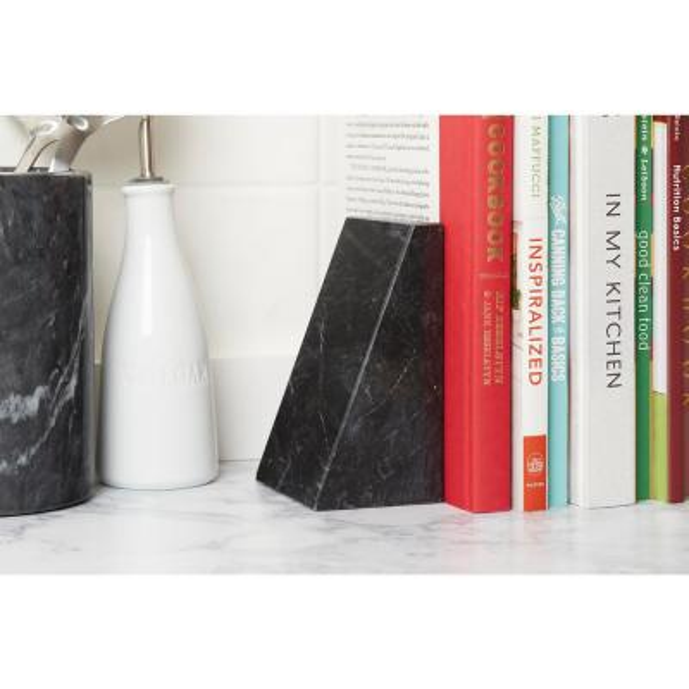 Black Marble Ceramic Triangular Bookends (Set of 2)