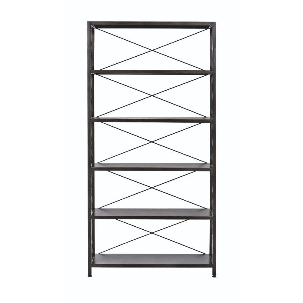Home Decorators Collection Ryan Burnished Black 5 Shelf Open Bookcase