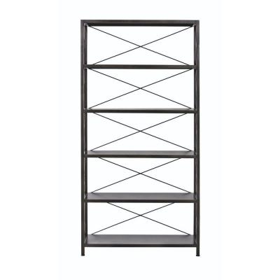 72 in. Burnish Black Metal 6-shelf Etagere Bookcase with Open Back