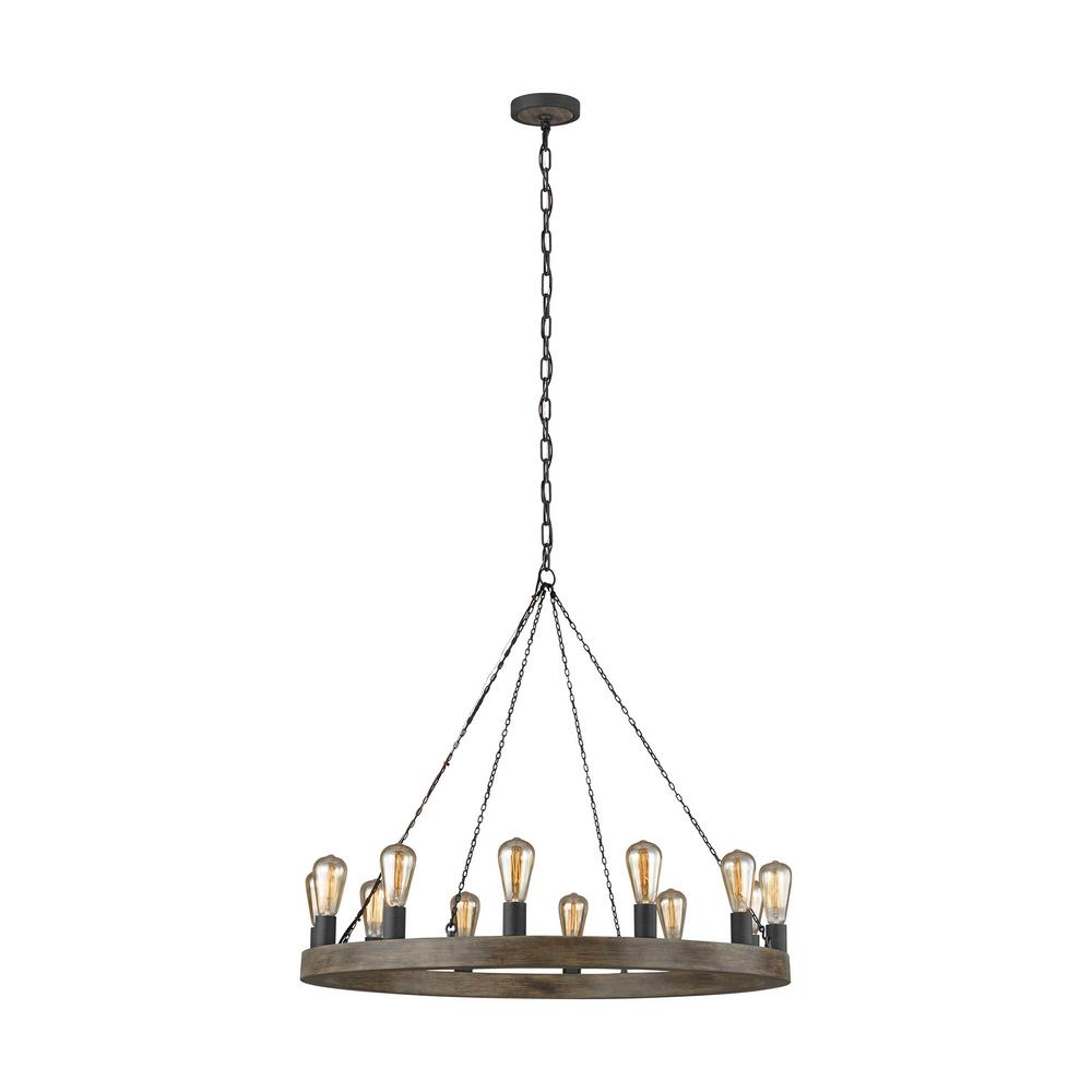 Avenir 12-Light Weathered Oak Wood and Antique Forged Iron Chandelier