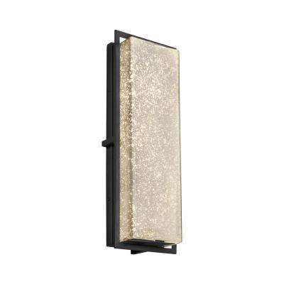 Fusion Avalon Large Matte Black Integrated LED Outdoor Wall Sconce with Mercury Glass Shade