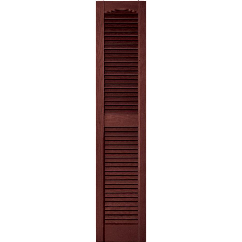 Builders Edge 12 in. x 55 in. Louvered Vinyl Exterior Shutters Pair in #027 Burgundy Red