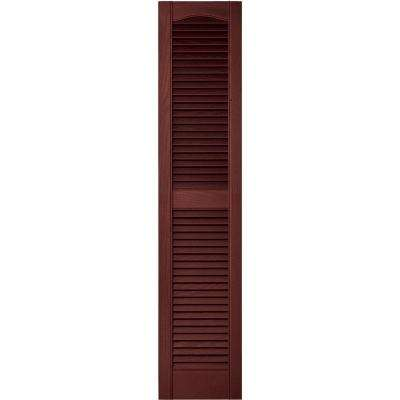 12 in. x 55 in. Louvered Vinyl Exterior Shutters Pair in #027 Burgundy Red
