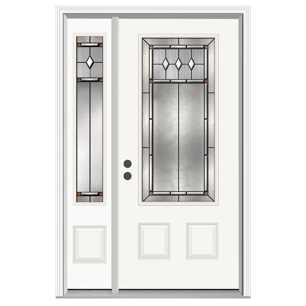 JELD-WEN 52 in. x 80 in. 3/4 Lite Mission Prairie Primed Steel Prehung Right-Hand Inswing Front Door with Left-Hand Sidelite
