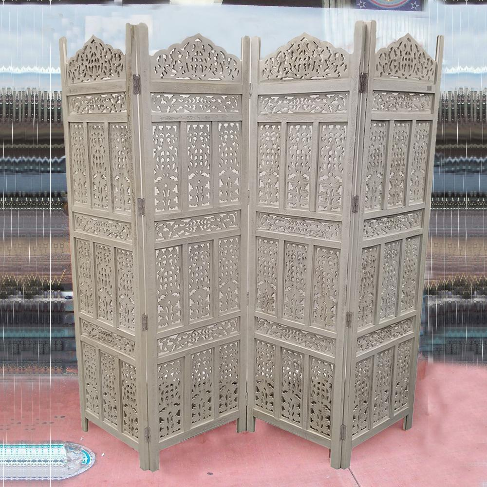 The Urban Port Aesthetically Carved Distressed White 4 Panel Wooden Parion Screen Room Divider