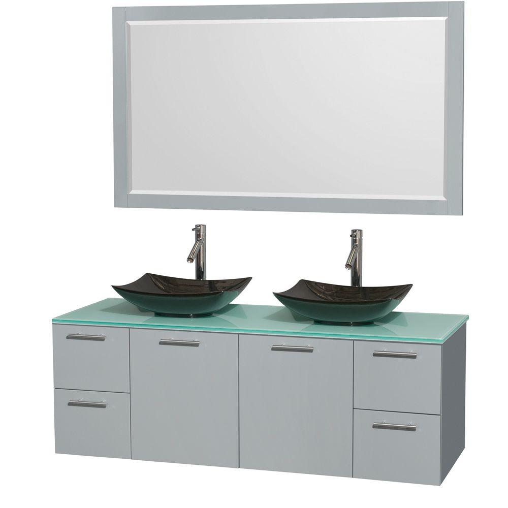 Wyndham Collection Amare 60 in. W x 22.25 in. D Vanity in Dove Gray with Glass Vanity Top in Green with Black Basins and 58 in. Mirror