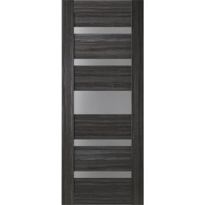 24 in. x 80 in. Gina Gray Oak Finished Frosted Glass 5 Lite Solid Core Wood Composite Interior Door Slab No Bore