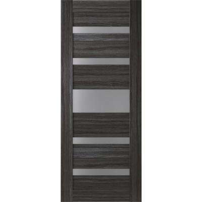 28 in. x 80 in. Gina Gray Oak Finished Frosted Glass 5 Lite Solid Core Wood Composite Interior Door Slab No Bore