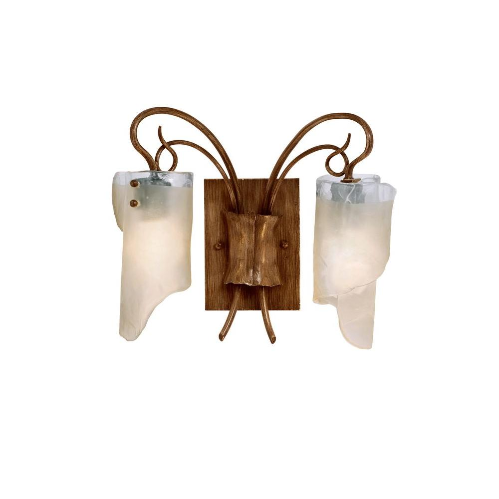 Varaluz Soho 2-Light Hammered Ore Bath Vanity Light with Brown Tint Ice Glass