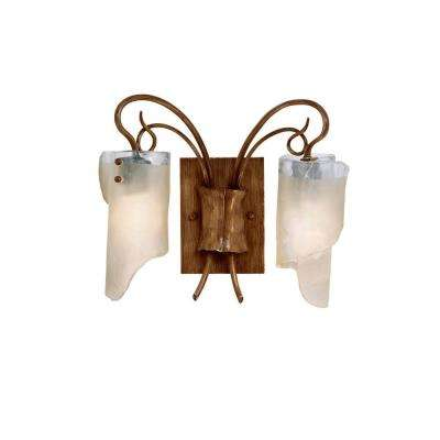 Soho 2-Light Hammered Ore Bath Vanity Light with Brown Tint Ice Glass