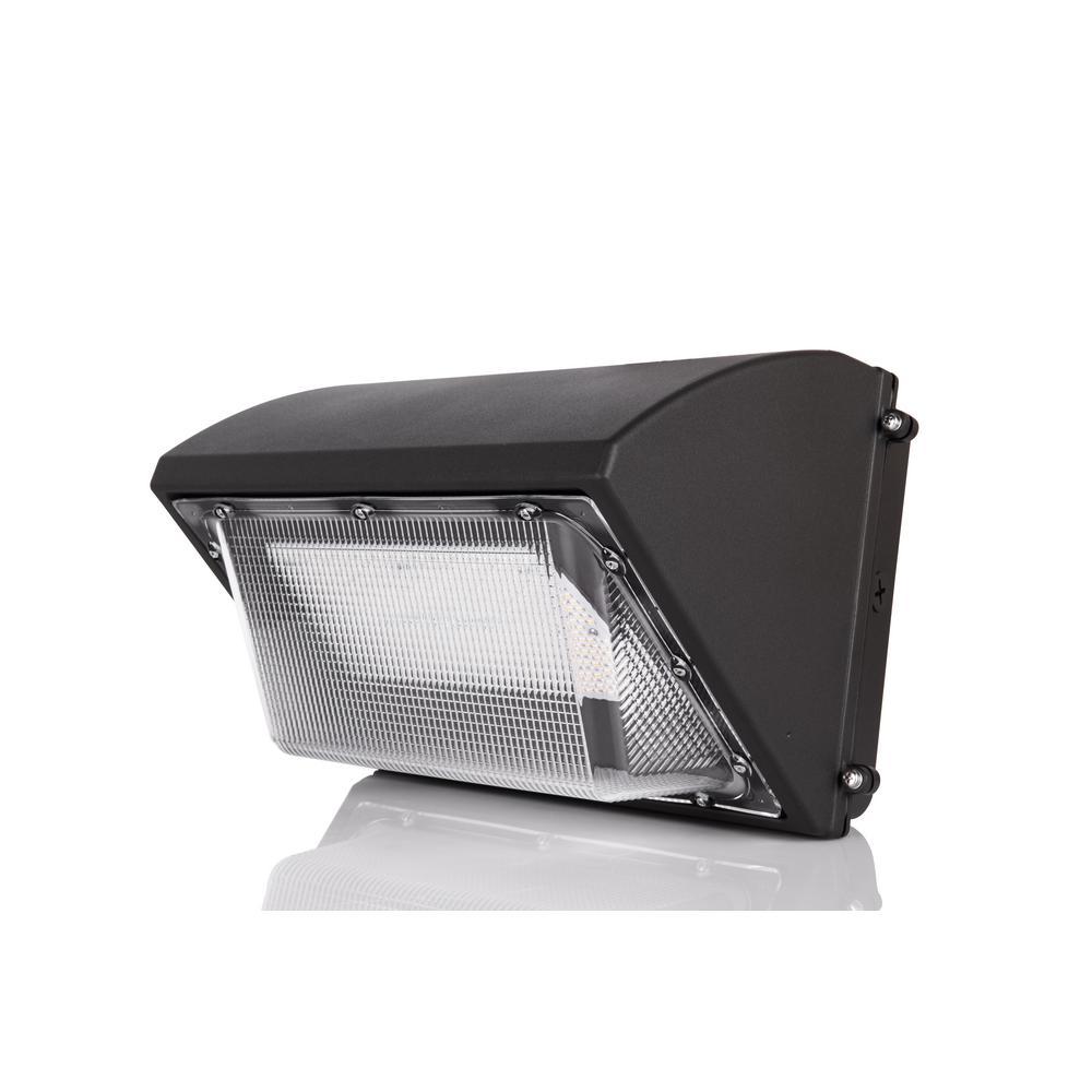 70-Watt Wall Pack Fixture Outdoor Area Integrated LED Black Wall Pack Light