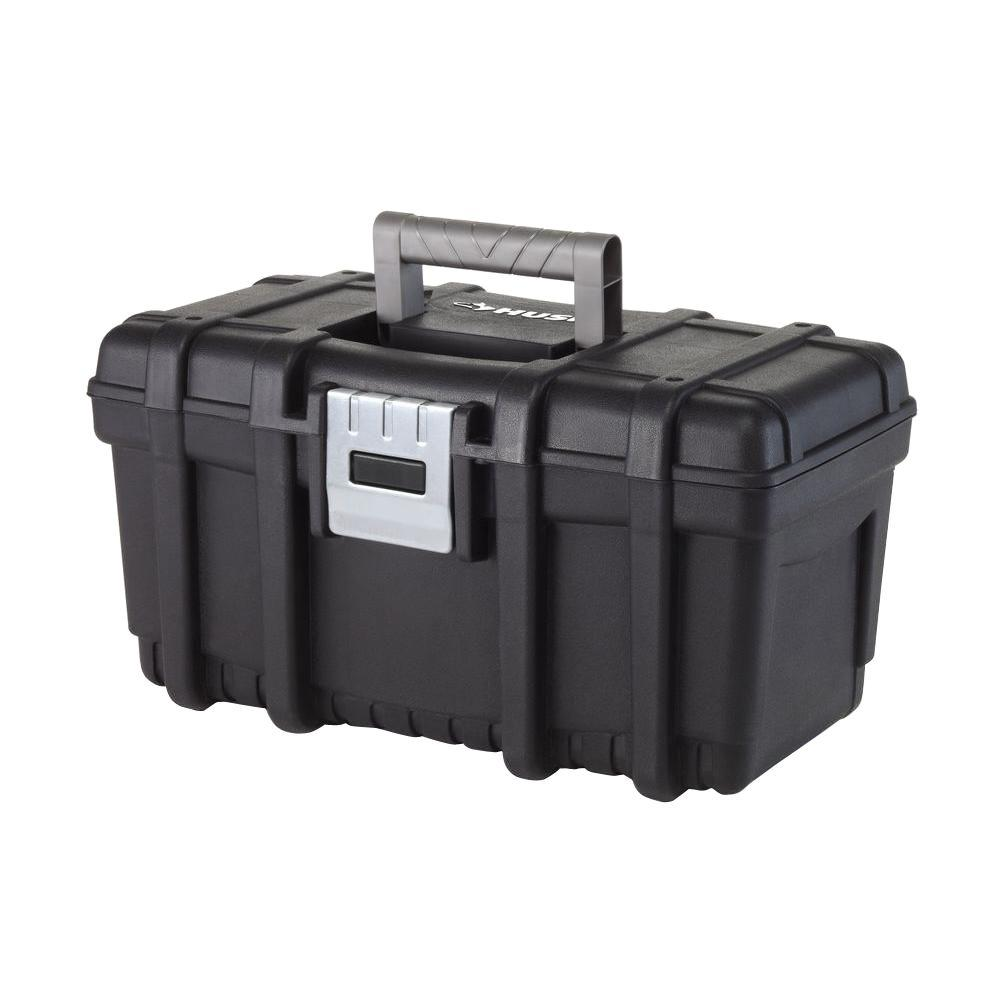 Husky 16 in. Plastic Portable Tool Box with Metal Latch