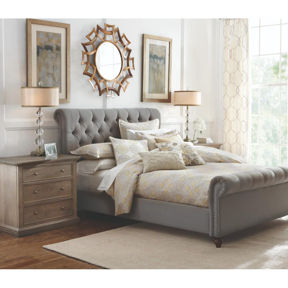 Home decorators collection gordon grey queen sleigh bed for Best place to purchase bedroom furniture
