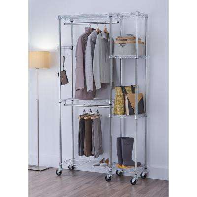 EcoStorage 14 in. D x 41 in. W x 77.5 in. H Chrome Color 5-Shelf Steel Closet System Organizer