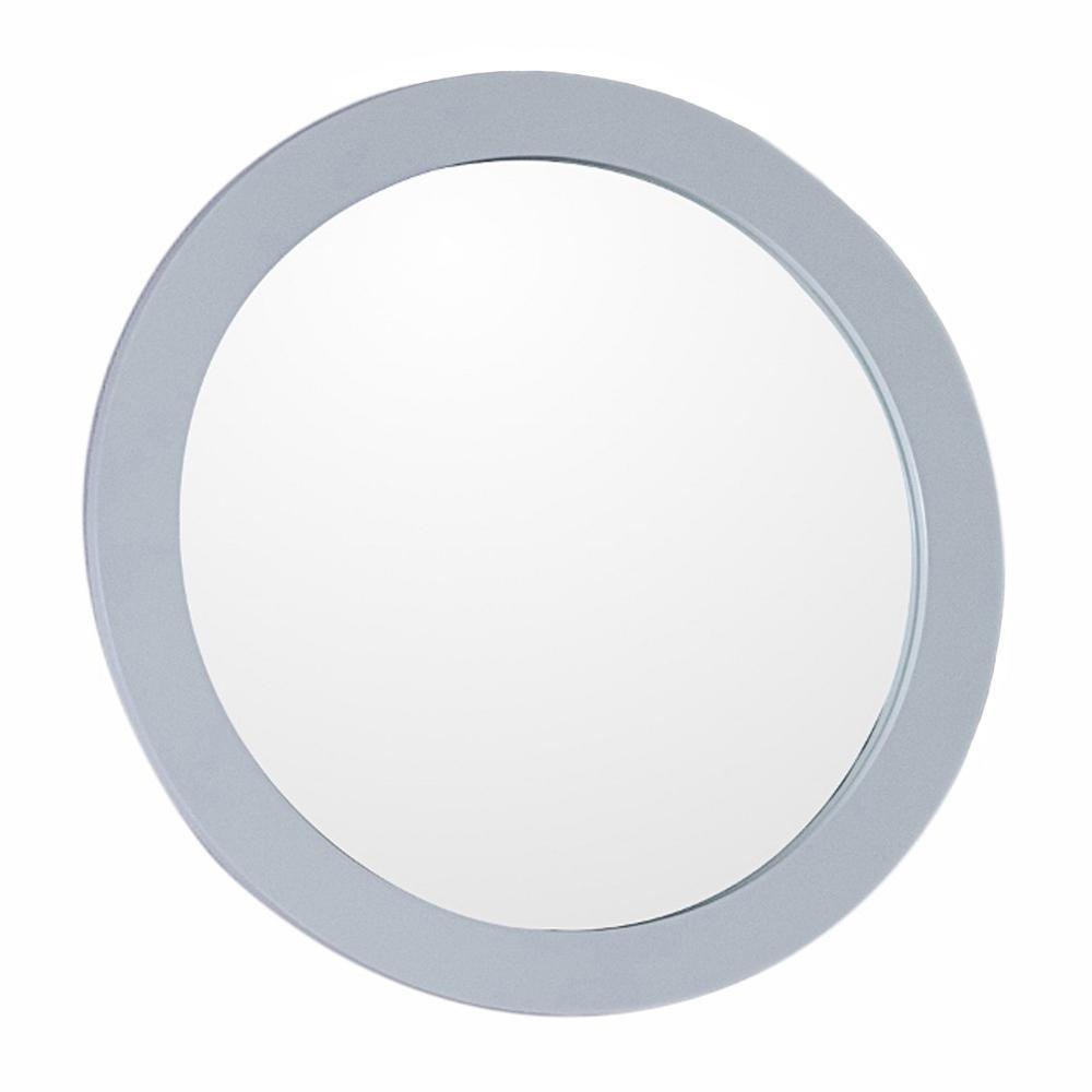 Donato 22 in. W x 22 in. H Framed Round Bathroom Vanity Mirror in White