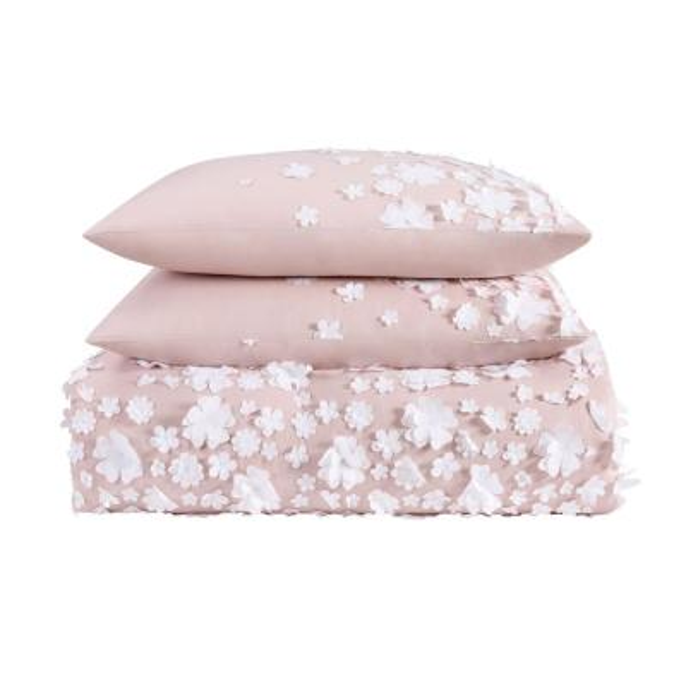 Confetti Flowers 3-Piece Blush Full/Queen Comforter Set