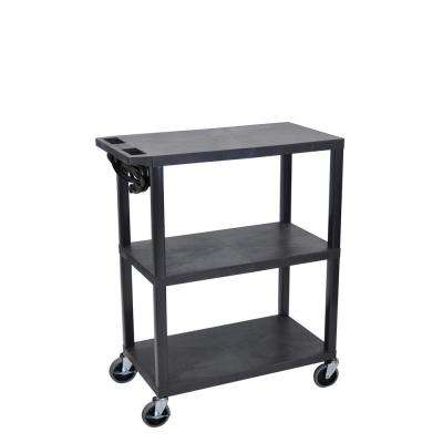 32 in. Presentation Cart with 3-Shelves in Black