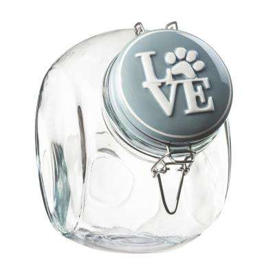 Love Space Saver 72 oz. Glass Grey Lid Hermetic Treats Canister