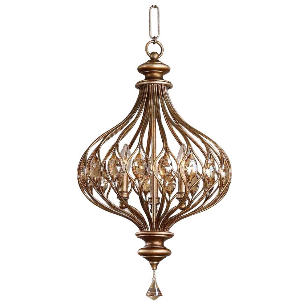 3-Light Burnished Gold Pendant