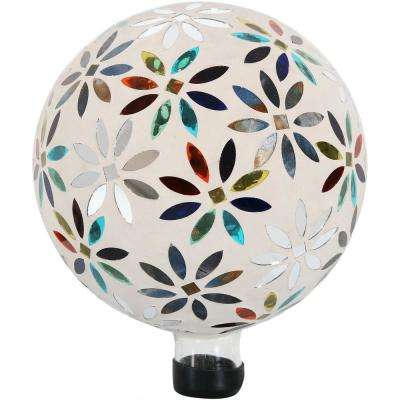 10 in. Multi-Colored Glass Mosaic Flowers Outdoor Gazing Ball Globe