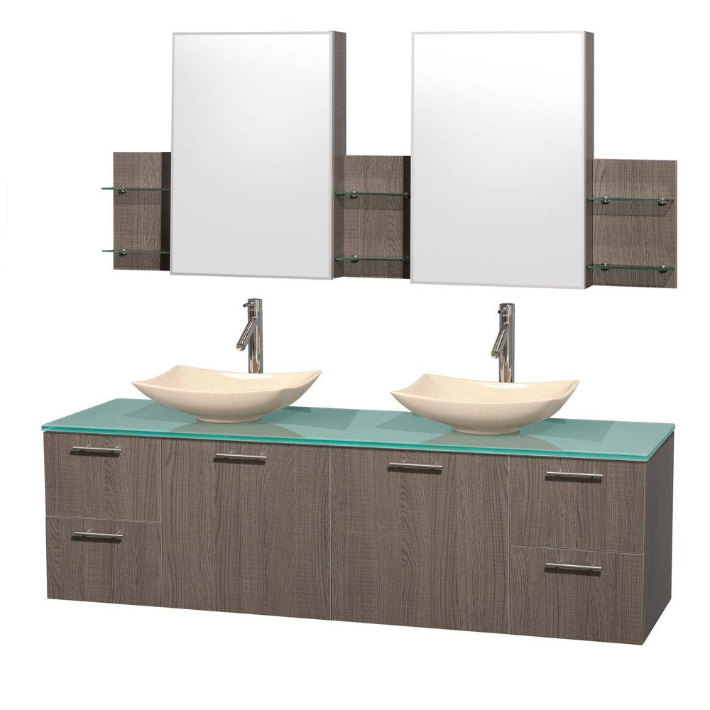 Wyndham Collection Amare 72 in. Double Vanity in Gray Oak with Glass Vanity Top in Green, Marble Sinks and Medicine Cabinet