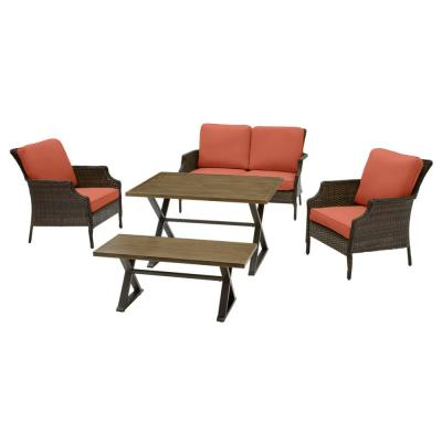 Grayson 5-Piece Brown Wicker Outdoor Patio Dining Set with CushionGuard Quarry Red Cushions