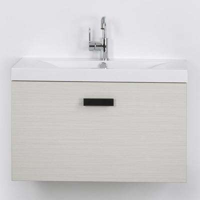 31.5 in. W x 18.2 in. H Bath Vanity in Gray with Resin Vanity Top in White with White Basin